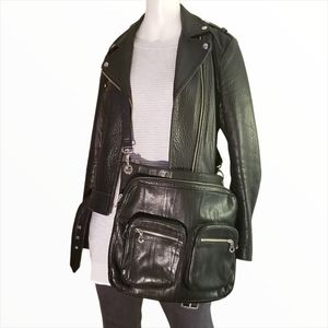 Christopher.Kon Unisex Black Leather Satchel